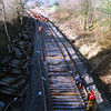 During the Windermere Branch track relaying project in 2002 This view from Milepost Bridge looking towards Kendal as the track relaying progresses 10/3/2002.