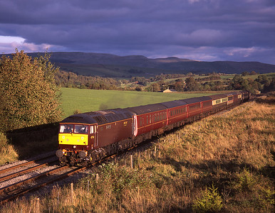 """In stupendous lighting 47786 """"Roy Castle OBE"""" heads a Norwich-Carnforth empty stock working towards Clapham with 47851 on the rear, 5/10/08."""