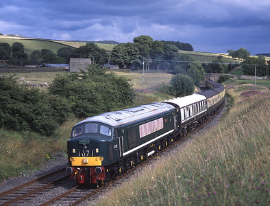 """D172 """"Ixion"""" makes a fine sight near Giggleswick with a Keighley-Cardiff charter 4/8/01."""