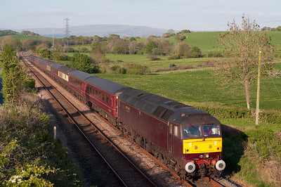 47804 passes Keer Holme with empty stock from Doncaster-Carnforth 3/5/11.