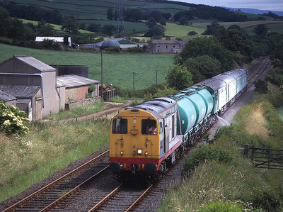 20902+20903 top & tail a weedkiller train at Keer Holme on a Sunday morning run to Heysham, Settle Junction and Barrow 14/7/96.