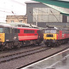87033 Thane of Fife, 47767 Saint Columbia and some tilting thing line up at the south end of Carlisle, 9/2/2002.