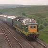 D9009 Alycidon roars over Lunds Viaduct towards Grisdale Crossing with a York-Appleby VSOE Pullman.<br /> D172 Ixion was waiting at Appleby to work the return, 13/6/1999.<br /> From memory the late Peter Walton was in attendance brandishing about 4 cameras....