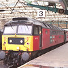 47767 Saint Columbia stands platform 3 at Carlisle having just worked over The Drag with the diverted 1S46 06:55 Birmingham New Street - Edinburgh, 9/2/2002