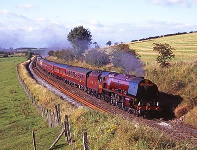 "6233 ""Duchess of Sutherland"" passes Staingills with a Carlisle-Nottingham charter on 8/9/07."