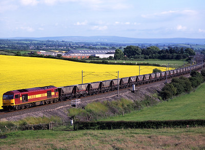 60010 passes Rowell with the regular early evening coal empties on 7/7/98.