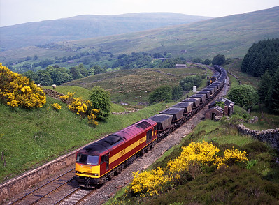 60023 hauls a Saturday morning coal train at Mossy Bottom, as a 156 heads north, 26/6/99.