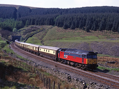 """47792 """"Saint Cuthbert"""" leaves Blea Moor tunnel with a VSOE charter on 16/5/98."""