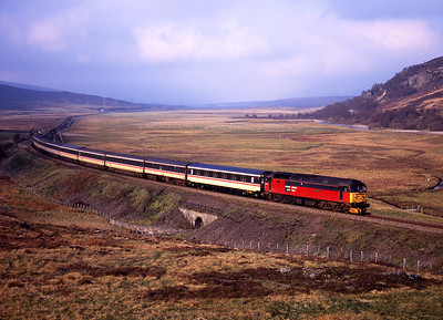 "47760 ""Restless"" passes Crubenmore with the Euston-Inverness sleeper train on 13/5/98."