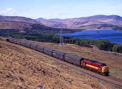 37427 hauls a northbound freight near Achallader on 11/5/98.