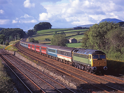 A return charter from Carlisle-Liverpool passes Settle Junction with 47812 & 47847 top and tail, 17/6/07.