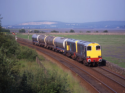 20302 + 20304 approach Grange-over-sands with chemical tanks for Sellafield, 19/6/98.