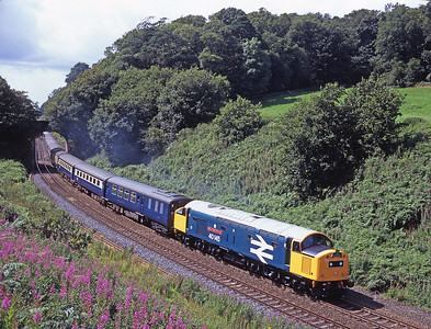 40145 hauls a Manchester-York charter past Cowran on the Tyne Valley 28/7/07.