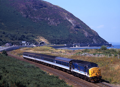 "37420 ""The Scottish Hosteller"" heads east at Conwy Morfa on 9/8/98."
