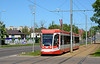UKVZ three section tram 011 is seen in 18 November Ilea heading back into the city centre of Daugavpils 10/05/2018.