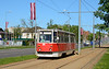 Russian made tram 101 UKVZ KTM-5 is seen in 18 November Iela Daugavpils on service 3 heading for Cietoksnis 10/05/2018.