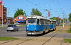 Tatra T3D tram 074+075 are seen at Ventspils Iela on service 1 heading back into the city centre of Daugavpils 10/05/2018.
