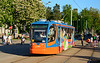 Tram 001 eases its way across the town square in Daugavpils 09/05/2018. A concert to commemorate the end of World war 2 was taking place and the crowds were large and the trams very busy.