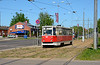 Tram 110 is seen on service 2 heading for Maizes Kombinats, and is about to cross the very busy 18 November Iela Daugavpils 10/05/2018.