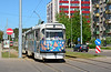 Tatra T3D 070+071 in its distinctive Christmas biscuit themed livery accelerates away from Ciolkovska Ilea on service 1 heading back into the city centre of Daugavpils 10/05/2018.