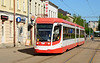 Tram 012 on service 1 heading for the Tram depot at Butjerova Iela 10/05/2018. This the three section Russian built UKVZ tram.
