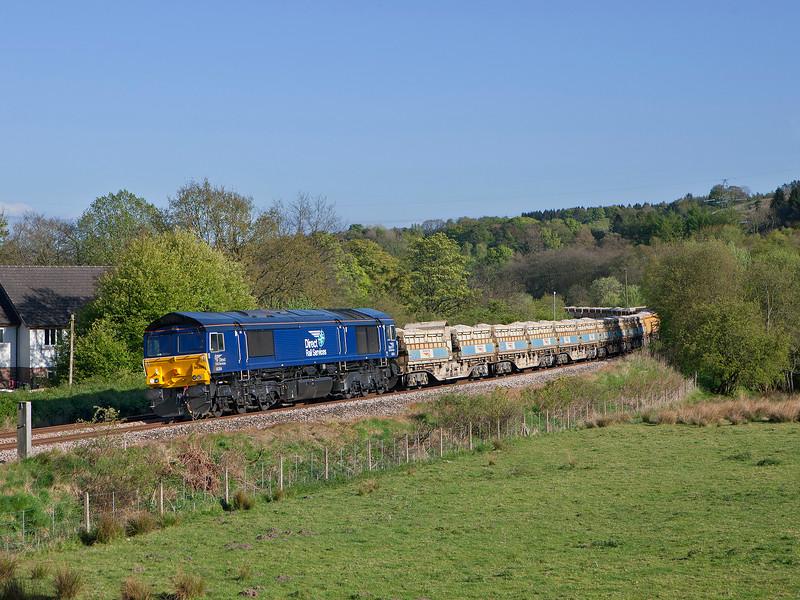 66304 passes Blenkinsop with 6C89 the 09.45hrs Mountsorrel - Carlisle New Yard ballast train.<br /> 9/5/2017