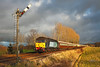 47802 on 1Z34 the 11.44hrs Darlington to Carlisle Northern Belle seen approaching Corby Gates, the weather had been dull & grey all of the day with snow & rain showers, but a clearance suddenly broke from the West & the only problem would be if the train would arrive before the sun hit the horizon, as it had been delayed due to a broken rail at Tursdale.  	<br /> 15/12/2011