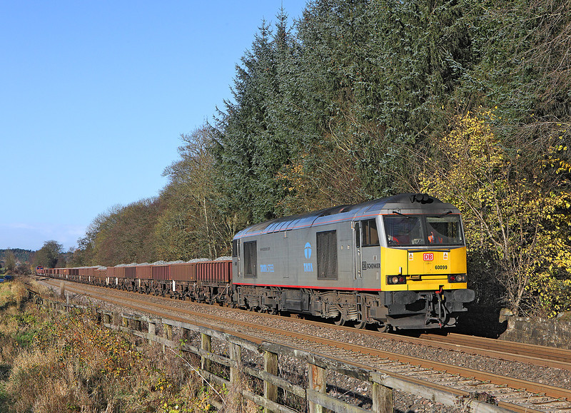 60099 is seen at Blenkinsopp on 6T71 the 09.46hrs Carlisle Yard -Eaglescliffe engineers train with 66207 on the rear<br /> 10/11/2012