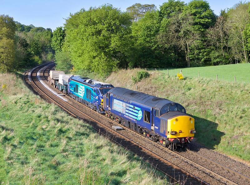 37607 + 68025 head  6E44 the 07.41hrs Carlisle Kingmoor - Seaton flask train seen near Brampton Fell.<br /> 24/05/2016