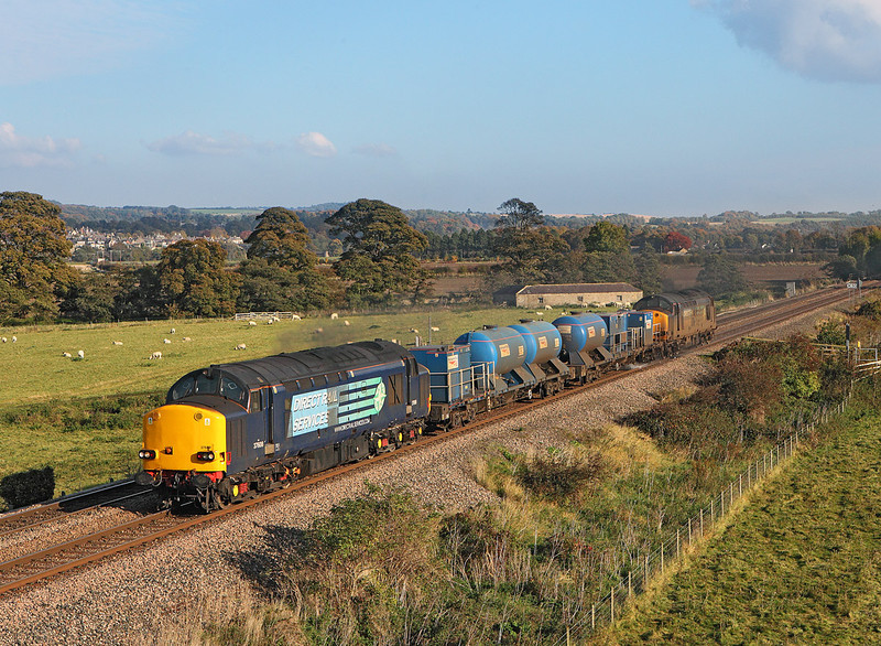 37608 heads 3S77 the 11.15 Carlisle DRS - Carlisle DRS back towards Carlisle after working to Tursdale Junction seen near Dilston<br /> 21/10/2012
