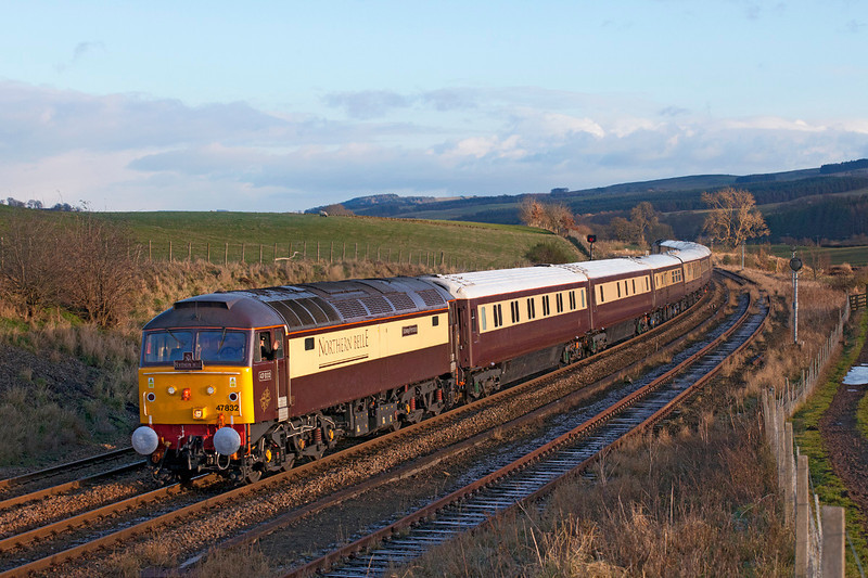 47832 is seen in charge of the 'Northern Belle' passing Melkridge with 1Z17 the 1200 Darlington to Newcastle via the Tyne Valley and S&C. What a shame the punters will be in darkness as they travel over the S&C.<br /> 5/12/2012