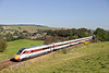 Azuma 800109 passes the Roman Wall at Gilsland with 1S08 the diverted 08.24hrs London Kings Cross - Edinburgh although I will miss the Class 91's on the ECML you can not deny these are very impressive looking machines.<br /> 21/09/2019