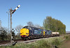 37605 + 37607 on 6M60 the 12.30hrs Seaton - Sellafield flask train pass	Corby Gates.	<br /> 18/04/2014