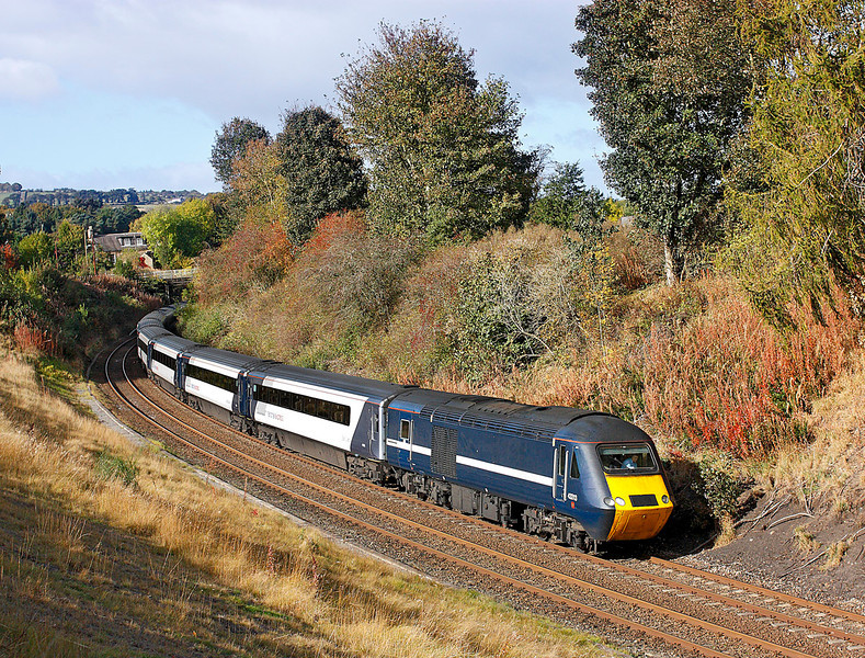 43313 on 1F60 the 10.10hrs Edinburgh to Newcastle diverted express seen Nr Riding Mill	<br /> 11/10/2009