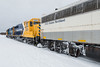 GP38-2 1801, GP40-2 2201 and Auxiliary Power Unit 202 at the head of special train for Little NHL hockey tournament.