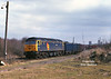 47145 is about to pass Hedon Road Sidings, Hull King George Dock, at the head of 6Z93 Hull Coal Terminal - Rugby, at 13:30 on Thursday 11th March 1999.