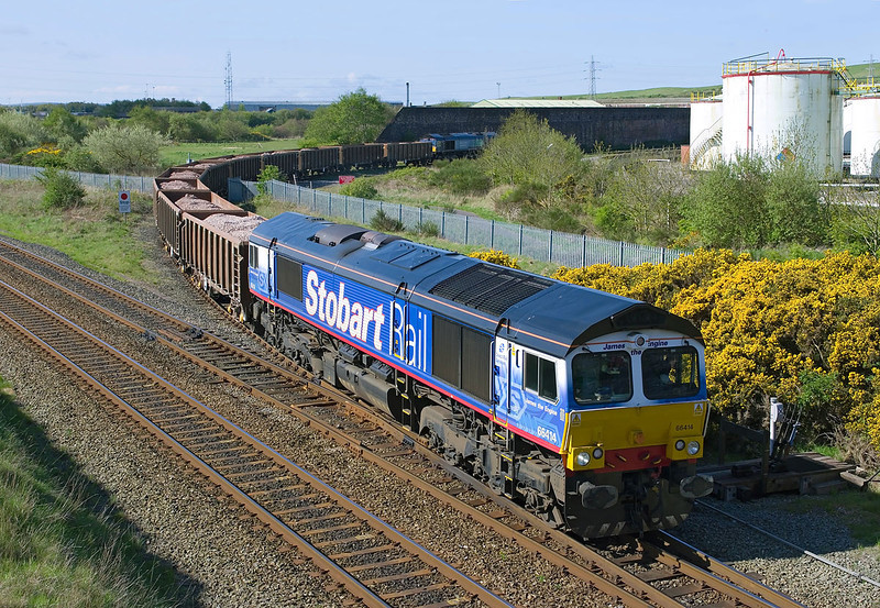 66414 'James the Engine' leads the last working of the 6C36 Workington Dock - Drigg over Derwent Jnc, Workington, at 09:37 on Tuesday 11th May 2010 . 66418 brings up the rear of the train, and would work forward following a reversal at Maryport.