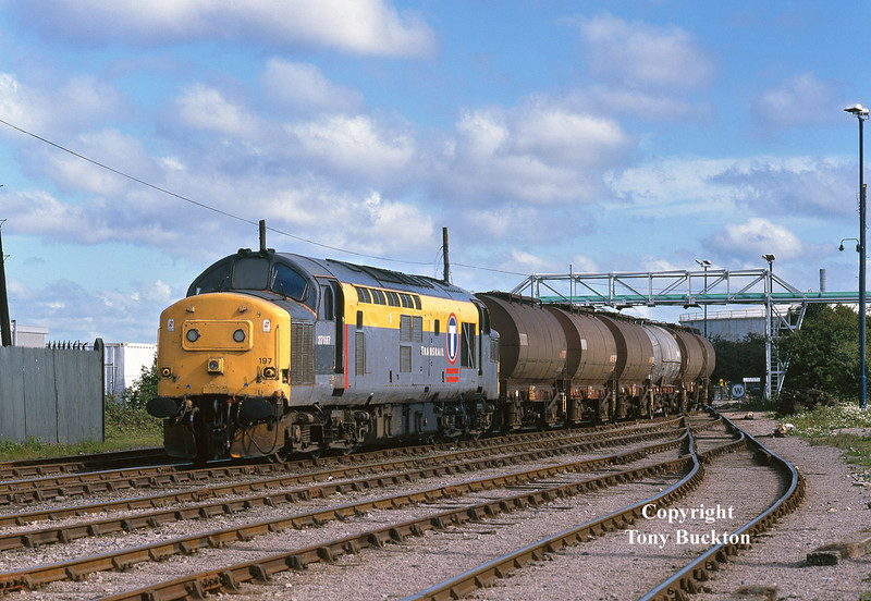 37197 arrives at Saltend Reception Sidings at 08:57 on Tuesday 14th July 1998 with the late running 6E33 acetic acid tanks from Baglan Bay.