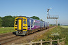 158791 passes Crabley Creek at 06:55 on Friday 3rd July 2015, with the 2W08 05:29 Sheffield - Beverley.