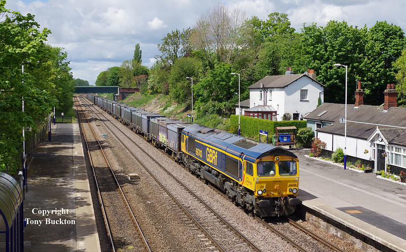 66743 passes Ferriby at 12:17 on Wednesday 20th May 2015 with the 4D94 10:28 Doncaster Down Decoy - Hull Coal Terminal empty gypsum containers.