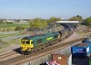 66604 leaves the Hull Docks Branch at Hessle Road Junction with the 6M49 08:00 Hull Kingston Terminal - Rugeley PS, at 09:09 on Wed 16th April 2014.