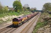 66012 passes through the cutting to the West of Ferriby at 13:13 on Friday 24th April 2015 with the 12:25 Hedon Road Sidings - Masborough.