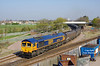 66764 departs from Hessle Road Junction, Hull, at 09:07 on Tuesday 21st April 2015 with the 6B43 08:11 Hull Coal Terminal - West Burton Power Station.