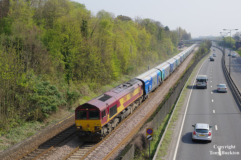 66127 passes Hessle with the 6H84 08:38 Hull Biomass LP - Drax PS at 11:10 on Bank Holiday Monday 21stApril 2014.