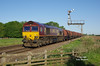 66131 catches some early morning sunlight as it passes Crabley Creek (just East of Gilberdyke) at 07:03 on Tuesday 24th May 2016 with the 05:36 Rotherham Masborough FD - Hedom Road Sidings empty steel hoods.