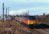47791 departs from the EWS Train Office, Hull King George Dock, at 10:55 on Thursday 29th October 1998 with the 6D51 08:47 Doncaster - Hull Enterprise service, which on this day would have been a light engine move had it not been for a one-off consignment of aluminium ingots from Lynmouth.