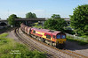 66200 takes the branch to Hull Docks at 07:18 on Friday 13th June 2014 with the 05:36 Rotherham Masborough - Hedon Rd Sidings.