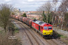 60007 departs from Hessle Road Jnc at 13:06 on Monday 13th March 2017 with the 6J94 12:25 Hedon Road Sidings - Rotherham Masborough steel hoods.
