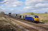 47812 looks resplendent as it brings the 4D94 10:36 Doncaster Down Decoy - Hull coal terminal empty gypsum containers through Ferriby Cutting at 11:44 on Friday 27th March 2015.<br /> This location has just been extensively opened up by the felling of various large trees and ground based vegetation.