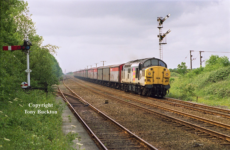 Tinsley's 37065 passes Melton Lane on June 27th 1991 with a long rake of VDA and VAA  vans to Hull King George Dock. A series of special workings ran for the MOD in connection with the Gulf War at this time, but this was the only one I was lucky enough to photograph.